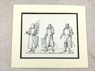 Vintage Costume Print Medieval Knight Duke of Brittany Military Shield Flag