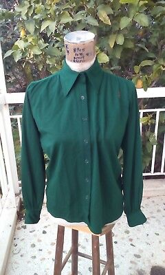 3ec47f42dfb YSL vintage Yves Saint Laurent top blouse wool emerald green very good Small
