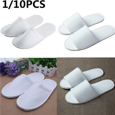 1/10 Pairs White Towelling Open/Close Toe Hotel Slipper Spa Shoes Disposable Lot
