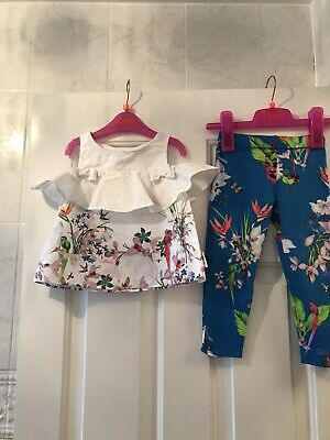 Ted Baker Baby Girls Oasis Blue Floral Top And Blue Leggings Set 18-24 Months