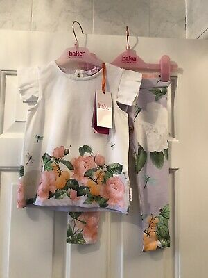 Ted Baker Baby Girls Rose Floral Top And Lilac  Leggings Set 18-24 Months