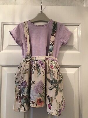 NEXT Baby Girls Floral Skirt With Braces And Lilac Top Set 18-24 Months
