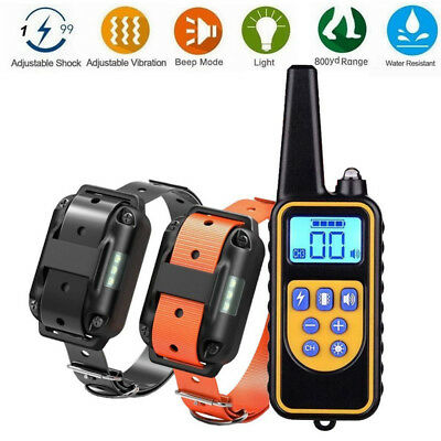 Pet Dog Training Collar Rechargeable Electric Shock LCD Display 800m