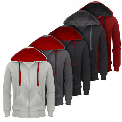 Men Winter Hoodie Zip Up Jacket Sweatshirt Hooded Top Casual Sports Coat Outwear
