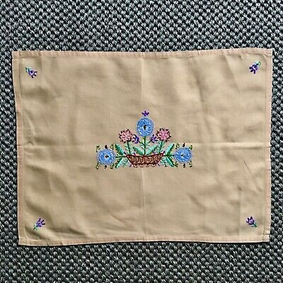 Arts & Crafts Style Embroidered Cotton Mat/Small Table Cloth