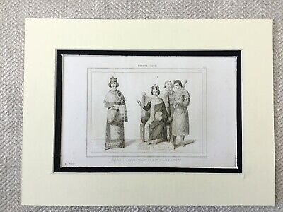 Antique Print French Royalty King Queen 9th Century Medieval France Engraving