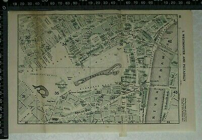 1920 Vintage Blue Guide map of Westminster and Piccadilly, London