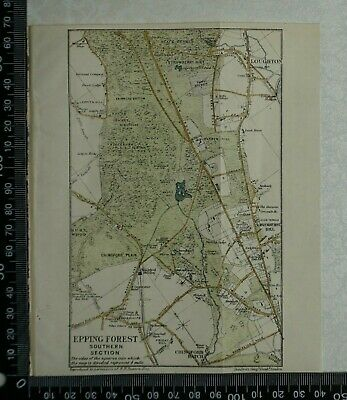 1920 Vintage Blue Guide Map of Epping Forest - Southern Section - by Stanford