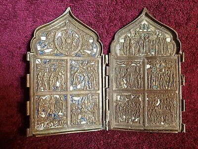 1800-s  OLD ANTIQUE ORIGINAL 0.43 kg FOLDING RUSSIAN ENAMEL BRONZE TRAVEL ICON