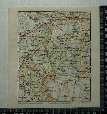 1920 Vintage Blue Guide Map of Richmond,Fulham,Kingston,Wimbledon - by Stanford