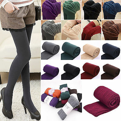 Ladies Women's Winter Warm Fleece Lined Thick Thermal Full Foot Tights Pants