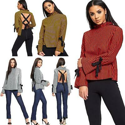 Ladies Womens Tie Open Back Frill Neck Long Sleeve Ribbon Stripes Shirt Top 8-12