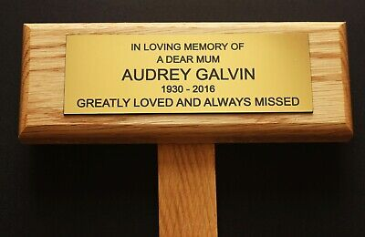 Solid Oak Personalised Engraved Memorial Stake Grave Tree Bench Plaque Options
