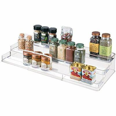 Seasonings Clear 1880MDK Drawer Organizer for Kitchen Cabinet Drawers Vitamins 3 Slanted Tiers for Garlic Expandable Plastic Spice Rack Pepper Spice Jars Supplements mDesign Adjustable Salt