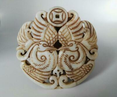 Chinese old jade hand-carved mandarin duck amulet Pendant