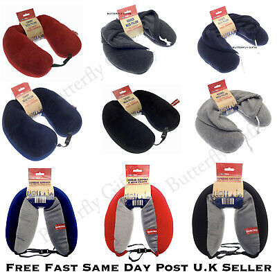Luxury Adults Hooded Travel Neck Pillow, Hoodie Drawstring Navy or Charcoal New