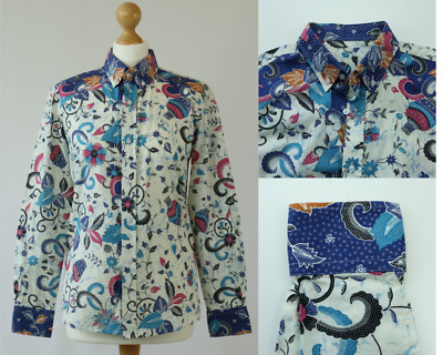 Women's UK 10 EU 38 Bright Multi Floral Cotton Fitted Button Up Shirt