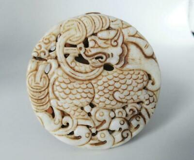 Chinese old jade hand-carved double Kirin amulet Pendant