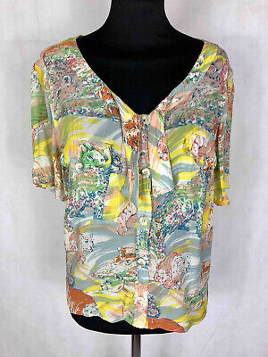 KRIZIA ANIMAL VINTAGE '80 Camicia Donna Viscosa Rayon Woman Shirt Sz.M - 44