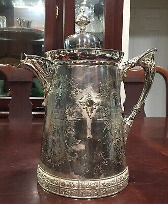 Antique Meriden B.Company Silver Plated Water Pitcher # 17 1868