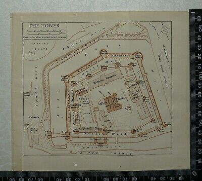 1920 Vintage Blue Guide Plan of the Tower of London