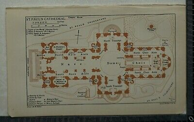 1920 Vintage Blue Guide Plans of St. Paul's Cathedral and Westminster Abbey