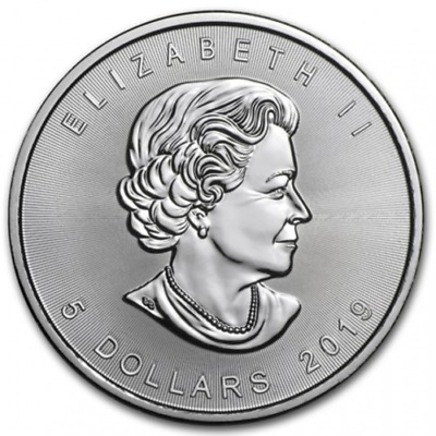 1 oz once argent CANADA 2019 BU 5$ dollars MAPLE LEAF 9999 Elizabeth II