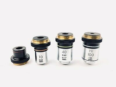 Olympus Microscope Objectives 4x, 10x , 40x ,100x Japan ,  REFURBISHED Set of 4