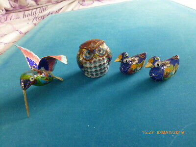 4 Chinese Cloisonne birds