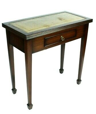 Vintage Regency Style Mahogany Leather Top Card Hall Table [5155]