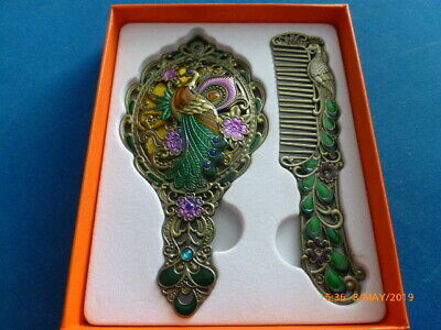 AAA Fine Decor Cloisonne Carve Phoenix Flower Hand Mirror Comb & Gift Box