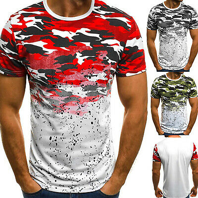 Mens Short Sleeve Camo T-Shirt Summer Sports Crew Neck Muscle Gym Slim Fit Tops