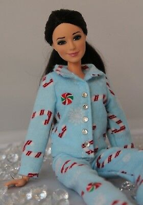 №120 Clothes for Barbie Doll Flannel Pajamas for Dolls.