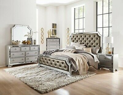 5 PIECE FORMAL Luxury Mirror Bedroom Set Queen King Bed ...