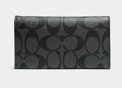 New Authentic Coach F32625 Large Universal Phone Case In Signature Canvas Black