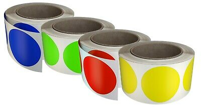 """Color Coded Dot 50mm Stickers Round Labels 2"""" in Roll Adhesive Sticker 2400 Pack"""