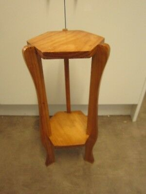 Arts And Craft Style Retro Small Pine Two Tier Pedestal Plinth Plant Stand