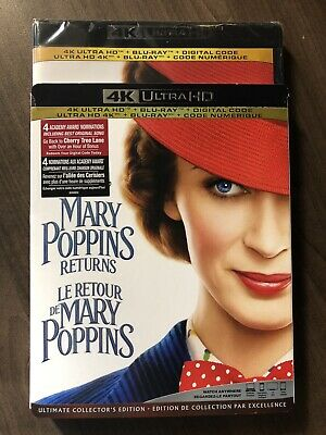 Mary Poppins 2 Returns 4K Ultra HD & Bluray w Slip Cover Canada Bilingual LOOK