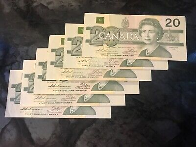 Canada twenty dollar banknote bill currency canadian 1991 EF - AU