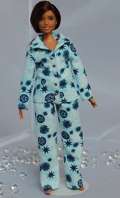 """#032 Clothes for Curvy Barbie Doll. Flannel """"Snowflakes"""" Pajamas for Dolls."""