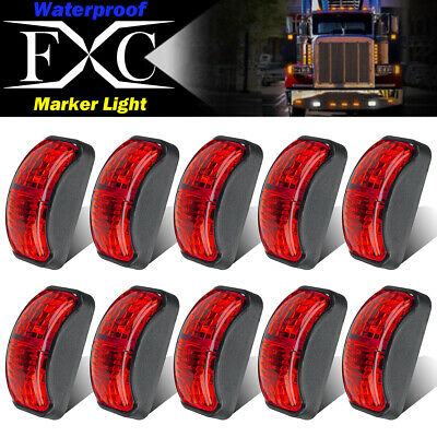 10X Red 2 LED Light Oval Clearance Car Trailer Truck Side Marker Lamp 12V-24V