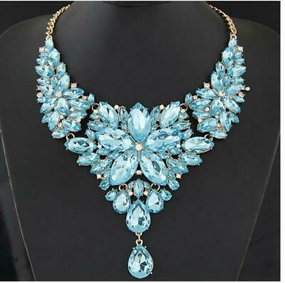 Rhinestone Silver Crystal turquoise teal blue Formal Pageant Necklace Jewelry