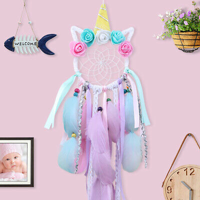 Bohemian Unicorn Dream Catcher Handmade feather with flowers Wall Hanging Decor
