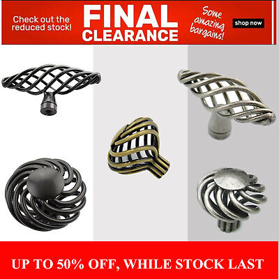 Black Birdcage Twist Spiral Door Drawer Handle Knob Pulls Provincial brass pewte