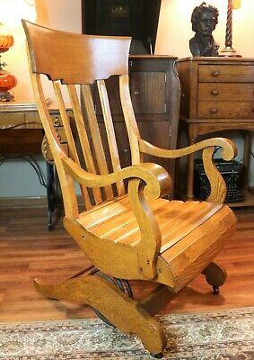 Antique Schram Convolute Coil Spring Oak Rocker Slatted