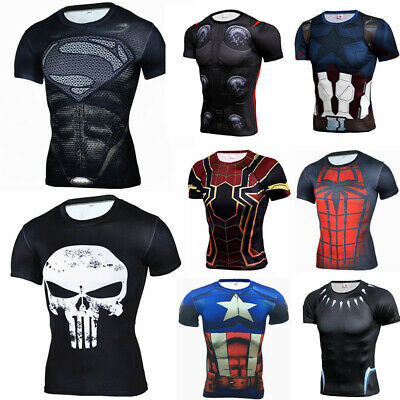 Men's Marvel Superhero T Shirts 3D Printed Compression Gyms Tops Cosplay Spandex