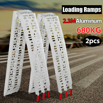 2 x 7.5FT Folding Aluminum Loading Ramps Lawnmower Motorcycle Truck Loading Ramp