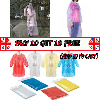 DISPOSABLE Poncho Rain Coat Festival Camping Emergency Waterproof Outdoor Hike_C