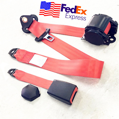 Red 3 Point Car Front Seat Belt Buckle Kit Automatic Retractable Safety Strap US