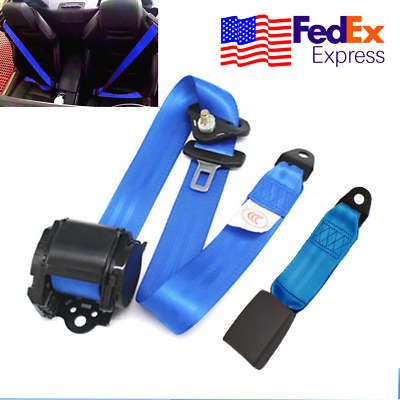 Automatic Blue Strap 3 Point Retractable Car Safety Seat Belt Buckle Kit USA 1x